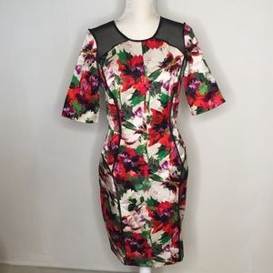 Milly Dress Sz M Floral Mesh Panels Milly40848